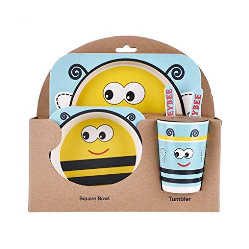 Demino Kinder-Geschirr-Set 5er Baby-Bambusfaser-Cartoon Bowl Tier Geschirr Set Kleinkind-Cup-Löffel-Gabel Blaue Biene Plate: 21.5 * 21.5cm
