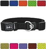 DDOXX Hundehalsband Air Mesh | für große & kleine Hunde | Katzenhalsband | Halsband | Halsbänder | Hundehalsbänder | Hund Katze Katzen Welpe Welpen | klein breit Leuchtend bunt | Schwarz, XS