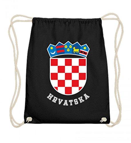 Hochwertige Baumwoll Gymsac - Kroatisches Wappen Hrvatska T-Shirt Kroatien Trikot Geschenk