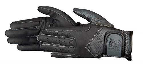 PFIFF Damen Reithandschuhe zweifarbig Handschuhe, schwarz/Grau, S
