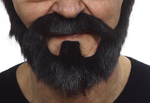 Mustaches Selbstklebende Neuheit On Bail Fälscher Bart Falsch Gesichtsbehaarung Kostümzubehör für Erwachsene Schwarz Glänzend Farbe (Falschen Bart Und Perücke)