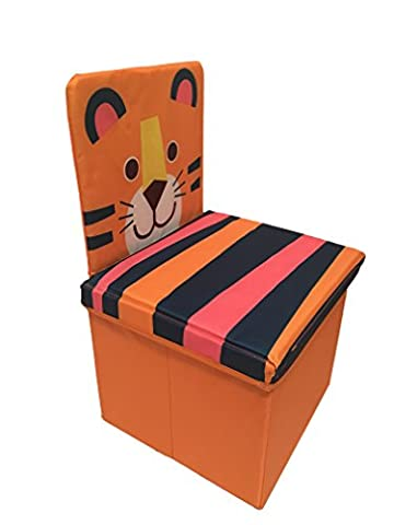 Multipurpose Children's Chair, Kids' Toys Storage Box, Organizer Foldable Box With Lid, Stool By Oasiz Toys - Durable 44x30x28 Construction (Orange Tiger