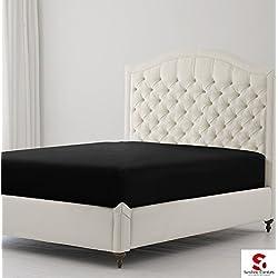 Sunshine Comfort® percal de algodón de 180hilos sábana bajera ajustable profunda de hierro para ropa de cama, algodón mixto, negro, doble