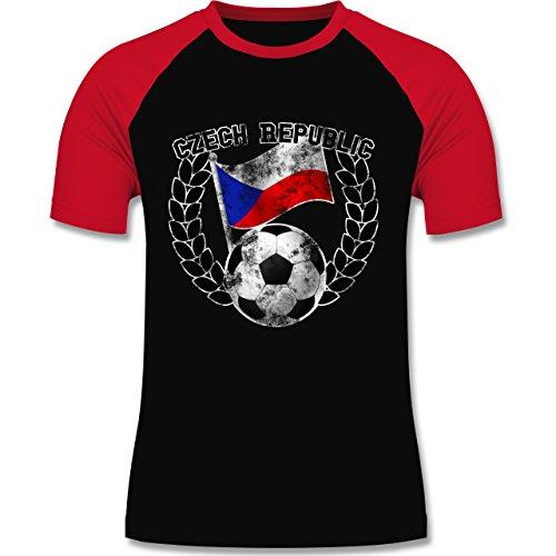 EM 2016 - Frankreich - Czech Republic Flagge & Fußball Vintage - zweifarbiges Baseballshirt für Männer Schwarz/Rot