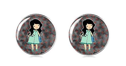 Tizi Jewellery Handgemacht Puppe 925 Sterling Silber Ohrringe Ohrstecker 12 mm für Damen und Mädchen Geschenk perfekte oder Party