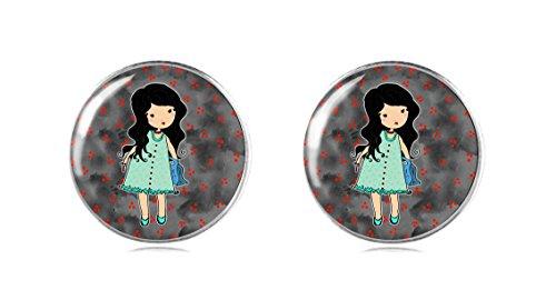 Tizi Jewellery Handgemacht Puppe 925 Sterling Silber Ohrringe Ohrstecker 12 mm für Damen und Mädchen Geschenk perfekte oder (Maus Ohren Rote Minnie Stirnband)