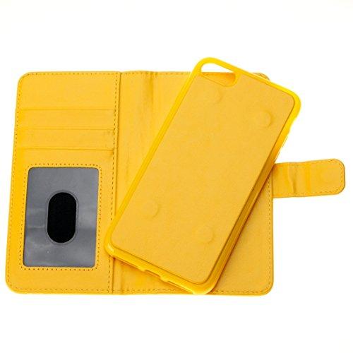 iPhone Case Cover Pour iPhone 7 Séparable Crazy Horse Texture Zipper Portefeuille Style Flip Étui en cuir ( Color : Blue ) Yellow