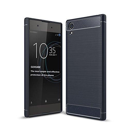 GOGME Sony Xperia XA1 Plus Hülle, Silikon TPU Schale [Carbon Fiber Series] Flexibles TPU Anti-Scratch Super Weiche Schutzhülle, Blau