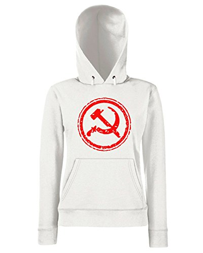 T-Shirtshock - Sweats a capuche Femme TCO0011 comunismo-timbro Blanc
