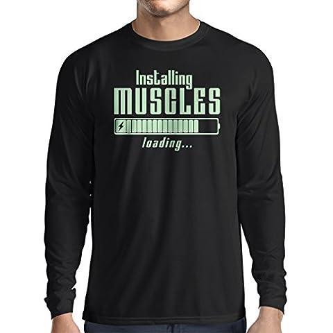 Langarm Herren t shirts Muskelarbeit Kleidung - für Muskelaufbau Meister, Vintage Design, Fitness Kleidung (Large Schwarz Fluoreszierend)