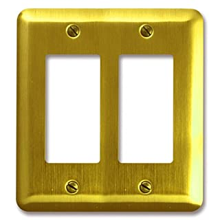 Amerelle 154RR Decorative Round Corner Steel Wallplate with 2 Rocker, Brushed Brass