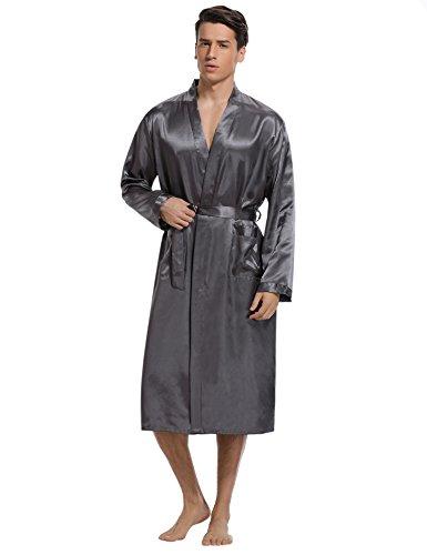 Aibrou Herren Morgenmantel Bademantel Lang Satin Nachtwäsche Kimono ...