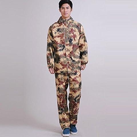 ZH&J Outdoor Camouflage Doppelschicht Oxford Tuch Futter Anzug, Outdoor Verdickung wasserdicht winddichte Verschleiß-resistente warme Regenmäntel, tragbare Taschen,A,XXXL