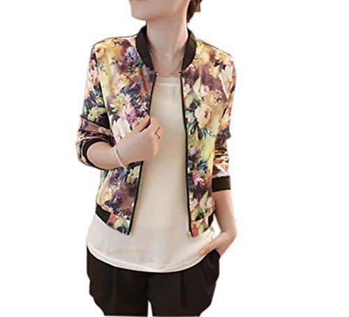Cappotto donna elegante,yanhoo® donna casuale maniche lunghe maglieria cashmere cardigan primavera giacca bomber a fiori con stampa floreale con cerniera a manica lunga (l, giallo)