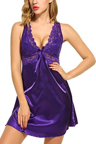 Scallop Mujer Ropa de Dormir atractivo con Tanga Babydoll Tirante Backless(Púrpura M)