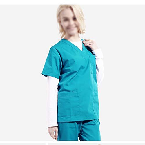 Set Krankenschwestern Scrubs Uniform (CX ECO Engel Uniformen Frauen Krankenschwester Anzug V-Ausschnitt Medical Scrub Set Anti-Falten Medical Scrub Top 3-Pocket Top und Hosen Workwear Medical Uniform,Green,XXL)