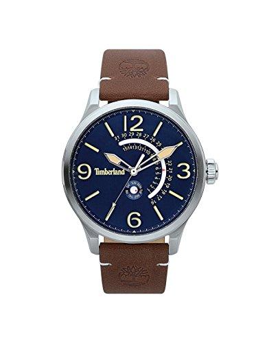 Timberland Herren Datum klassisch Quarz Uhr mit Leder Armband TBL.15419JS/03