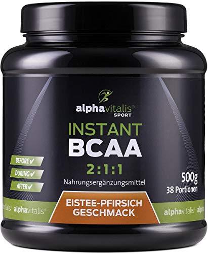Instant BCAA Pulver - XXL Dose - Aminosäuren mit leckerem Eistee Pfirsich Geschmack - 500g - vegane Aminos - Leucin, Isoleucin, Valin