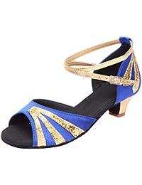 887cd3e5594a JiaMeng Mode Damen Tanzen Rumba Walzer Ballsaal Latin Dance Niedrigen  Absätzen Sandalen Schuhe ZXTY6.