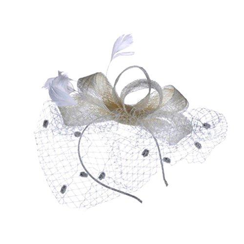 TUDUZ Fascinator Blume Mesh Bänder Federn Hochzeit Party Kopfbedeckung Hut für Mädchen und Frauen Kostüm Karneval Fasching (Beige)