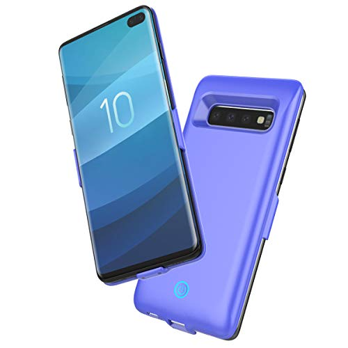 Banath Custodia Batteria per Samsung Galaxy S10 Plus, 6000mAh Caricabatteria Esterno Cover Portatile Ricaricabile Ultra Sottile Pack Power Bank Case(Blu)