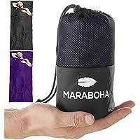 Maraboha Hüttenschlafsack aus weicher Mikrofaser, leicht und kleines Packmaß, Schlafsack Inlett mit extra Kissenfach - Perfekt für Backpacker und in warmen Ländern