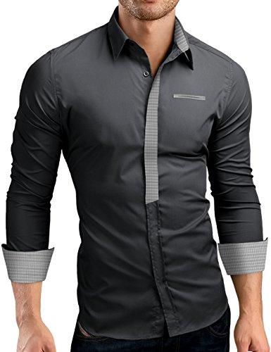 Grin&Bear Slim Fit Shirt Hemd Herrenhemd Kontrast SH513/Dunkelgrau