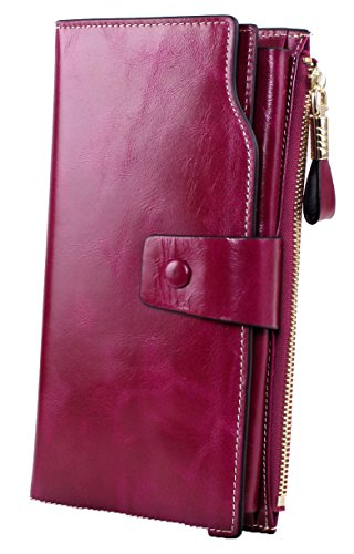 SQLP Women's Large Capacity Luxury Wax Genuine Leather Wallet With Zipper Pocket (Violet)