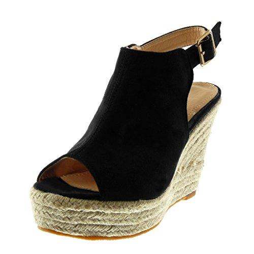 Angkorly scarpe moda mules sandali zeppe peep-toe con cinturino alla caviglia donna corda intrecciato tacco zeppa piattaforma 11 cm - nero l2667 t 40