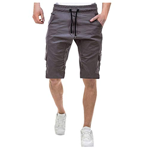 Auiyut Herren Chino Shorts Bermuda Kurze Hose Freizeit Kurze Hosen Sommer Bermudas Cargo Jogger Chino Hose Pants Tasche Hose Chino Stoff HoseMit Kordelzug