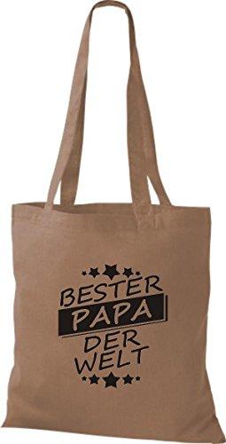 ShirtInStyle Stoffbeutel Baumwolltasche Bester PAPA der Welt hellbraun