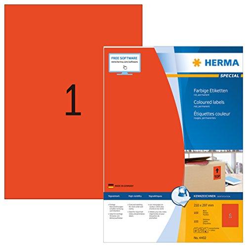 Herma 4402 Farbetiketten (210 x 297 mm, Format DIN A4, Papier matt) 100 Stück auf 100 Blatt, rot, bedruckbar, selbstklebend
