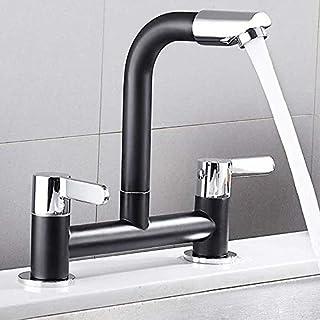 Kitchen Sink Taps 2 Hole 1/4 Turn Dual Lever Deck Mounted Hot & Cold Mixer Faucet Swivel Spout Black Taps (Black)