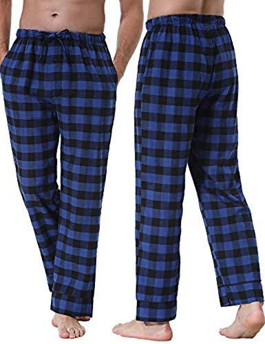 Herren Pyjamahose Baumwolle Schlafanzug Karierte Hose Nachtwäsche Sleep Hose Pants Tarnfarbe im Lässigen Stil Hose Lang Baumwoll-Gummiband -