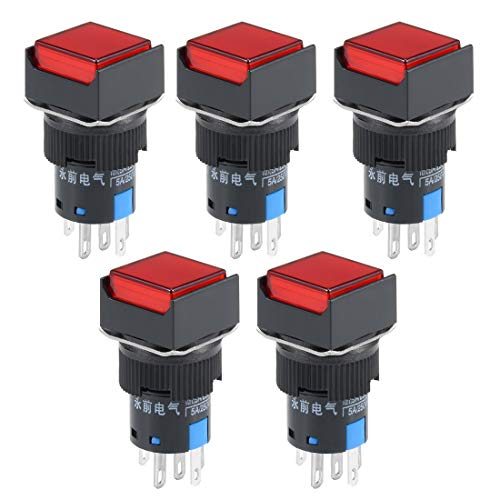 ZCHXD 5Pcs 16mm Momentary Push Button Switch Red LED Light Square Button 1 NO 1 NC Light 24V -