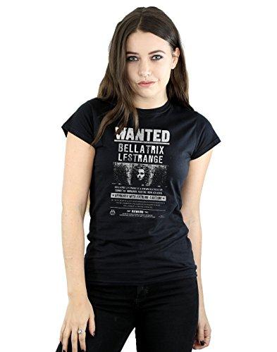 Kostüm Perücke Assistent - HARRY POTTER Damen Bellatrix Lestrange Wanted T-Shirt Small Schwarz