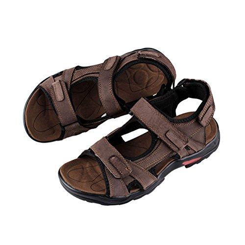 Haodasi Mode Männer Beiläufig Strandschuhe Leder Draussen Sport Sandalen Hausschuhe Anti-Rutsch Braun