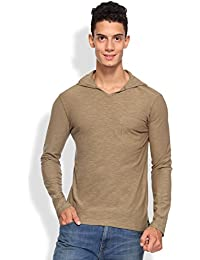 ARISE Regular Fit Round Neck Men's Hooded Olive T-Shirt for Men - Casual Men's Tees