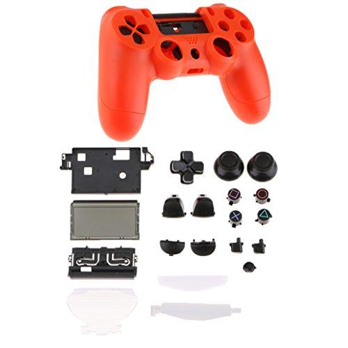 MagiDeal Volle Schutzhülle, Kunststofffolien und Tastenschlüssel Set Ersatzteil für PS4 Controller, Rot
