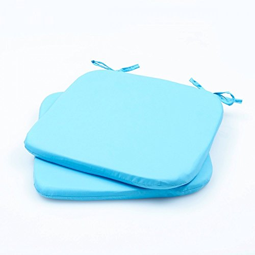 Baumwoll-satin-matratze-auflage (2er - 4er Pack Stuhlkissen Stuhlauflage Bodenkissen Sitzkissen Auflage 36x36 x 3, Farbe:2er Pack TÜRKISE)
