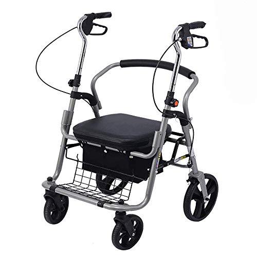 TWL LTD Mobility Walker con Sedile, Carrello per la Spesa Pieghevole Leggero Walker Telaio in Acciaio con Cestello e Freni Maniglie Ergonomiche Ausili per la Camminata per Anziani Anziani, N