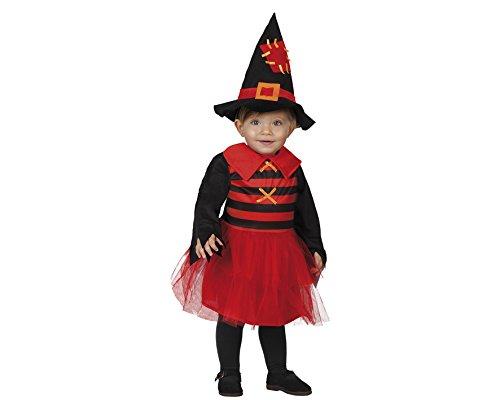 Atosa 22726 - Hexe Kostüm, Größe 0-6 Monate, schwarz/rot (Baby Hexe Kostüm 3 6 Monate)