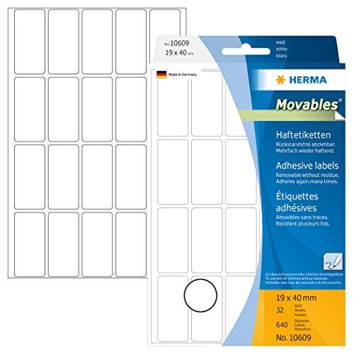 selbstklebend HERMA 12906 Tiefk/ühl-Etiketten DIN A4 66 x 33,8 mm, 5 Blatt, Papier, matt 120 Klebeetiketten permanent haftende Haushaltsetiketten bedruckbar wei/ß