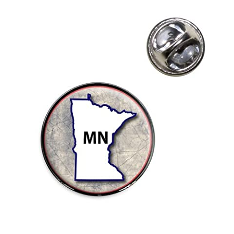 Minnesota MN State Outline on Faded Blue Lapel Hat Tie