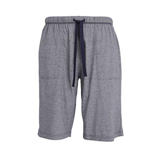 GÖTZBURG Herren Bermuda, kurze Schlaf-Hose, Pyjamahose, Shorty-Hose - Baumwolle, Single Jersey, blau, melange L (Lockere Passform Schlaf-hose)