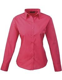 Premier Frauen/DamenPopeline Bluse / Schlichtes Arbeitshemd lang�rmelig (36)(Size:8) (DunklesPink) DE 36,DunklesPink