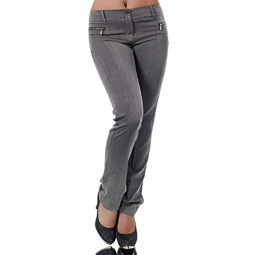 H596 Damen Business Hosen Stoffhose Bootcut Elegante Hose Classic Gerades Bein, Farben:Grau;Größen:34 XS (Etikett T1) (Hosen-anzug Damen Grau)