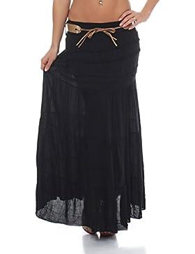 malito falda con cinturón verano tramo Maxi A-línea 1116 Mujer Talla Única