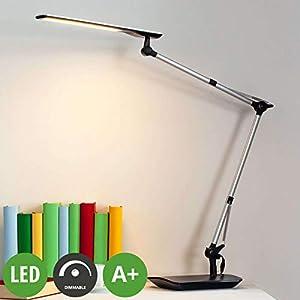 Lampenwelt LED Tischlampe 'Felipe' dimmbar (Modern) in Alu u.a. für Arbeitszimmer & Büro (1 flammig, A+, inkl. Leuchtmittel) - Tischleuchte, Schreibtischlampe, Nachttischlampe, Arbeitszimmerleuchte