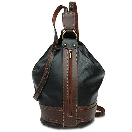 Caspar TL721 2 in 1 Leder Rucksack Handtasche, Farbe:schwarz, Größe:One Size